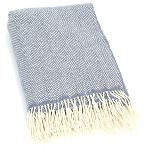 Merino Cashmere Blanket / Throw - Blue Herringbone
