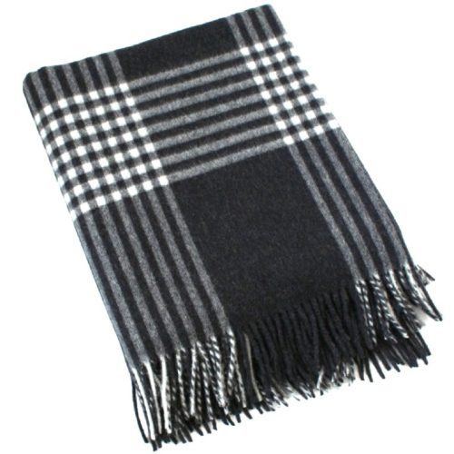 Merino Lambswool Blanket - Charcoal & Winter White