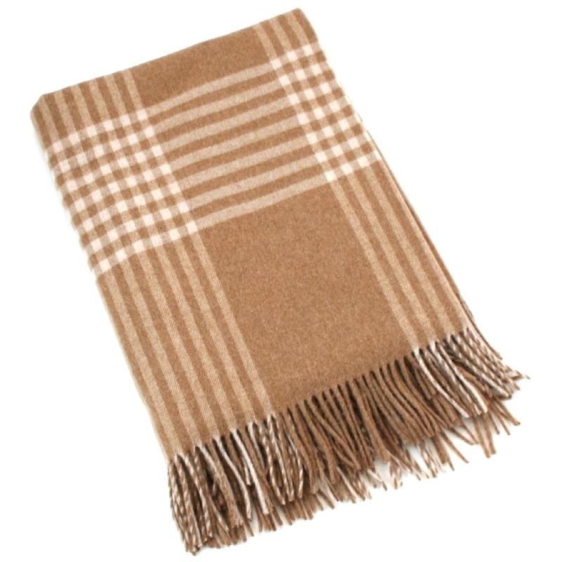 Merino Lambswool Blanket - Camel & Beige