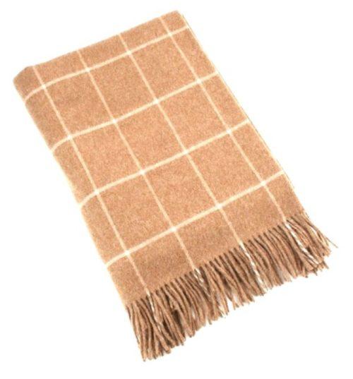 Merino Lambswool Blanket - Tan & Beige