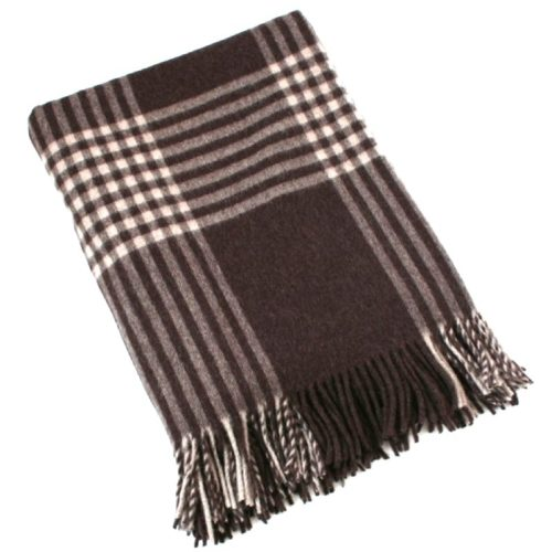 Merino Lambswool Blanket - Taupe & Dark Brown