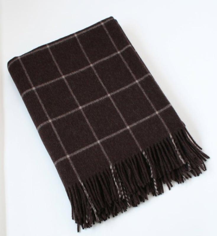 Merino Lambswool Blanket - Maroon & Grey