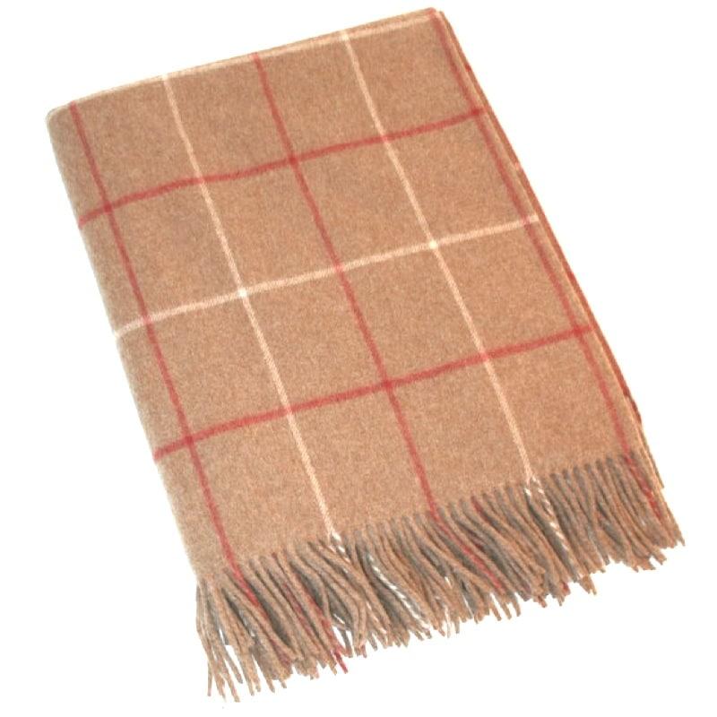 Merino Lambswool Blanket - Camel & Red