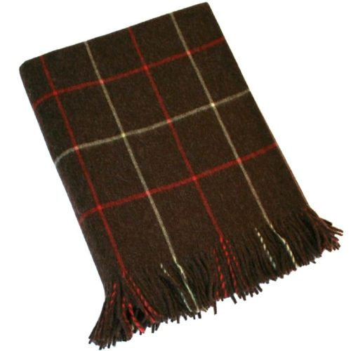 Merino Lambswool Blanket - Dark Brown & Red