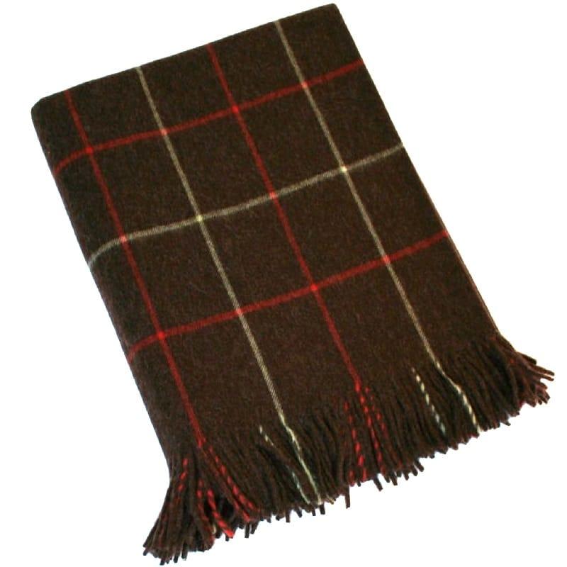 Merino Lambswool Blanket - Dark Brown & Red