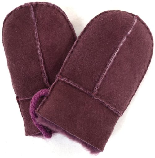 Sheepskin Baby Mittens - Purple