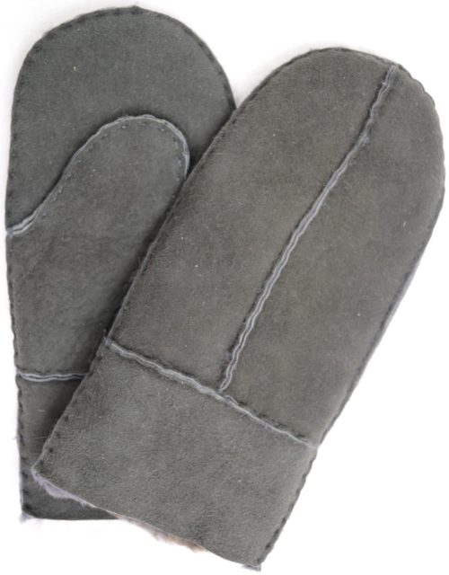 Sheepskin Kids Mittens with Thumb - Charcoal