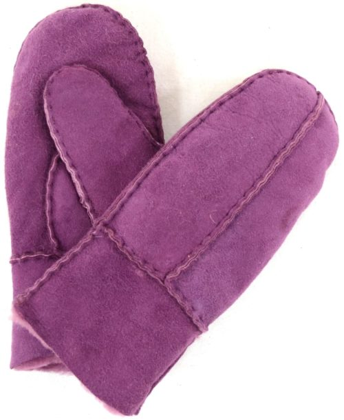 Sheepskin Kids Mittens with Thumb - Purple