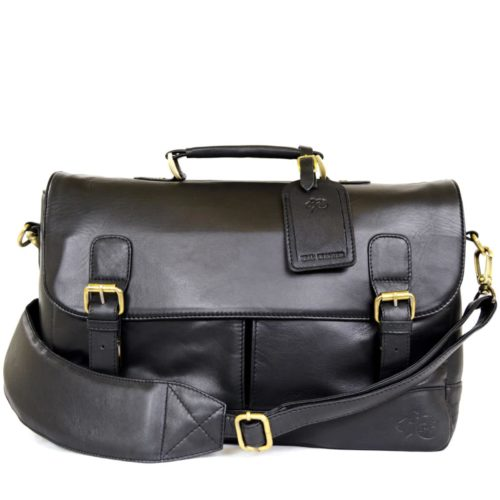 Men's Leather Satchel Bag - Black