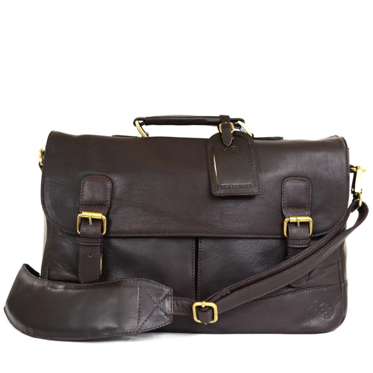 Men's Leather Satchel Bag - Brown