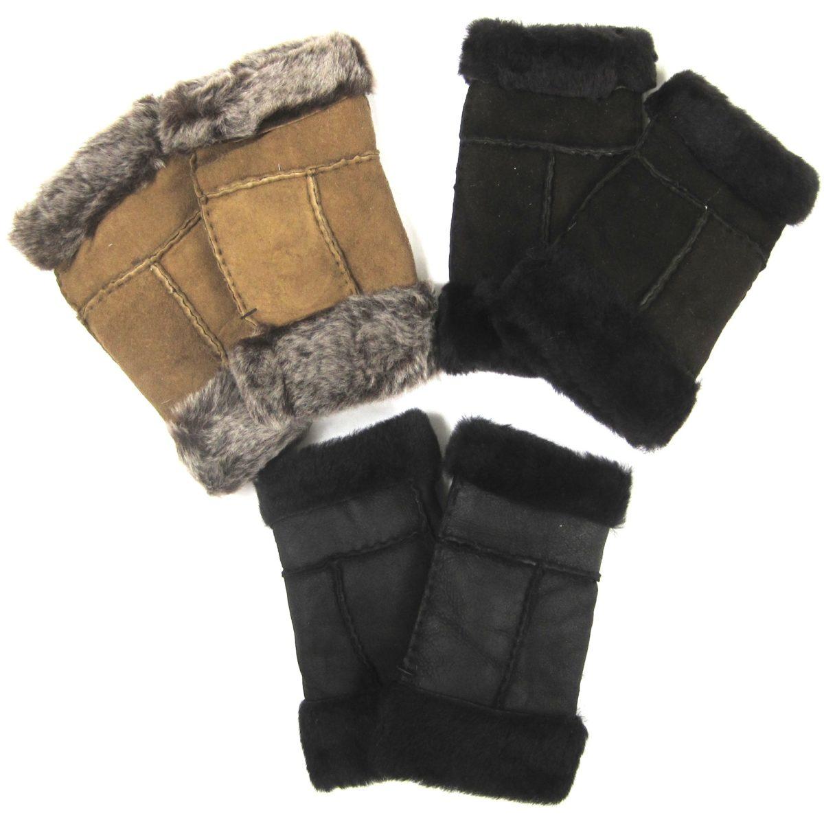Ladies Sheepskin Fingerless Gloves - 3 Colours