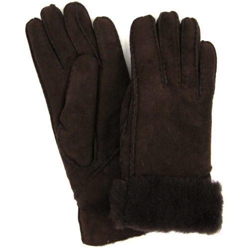 Vicky - Full Sheepskin Glove Long Fold Back Cuff - Coffee