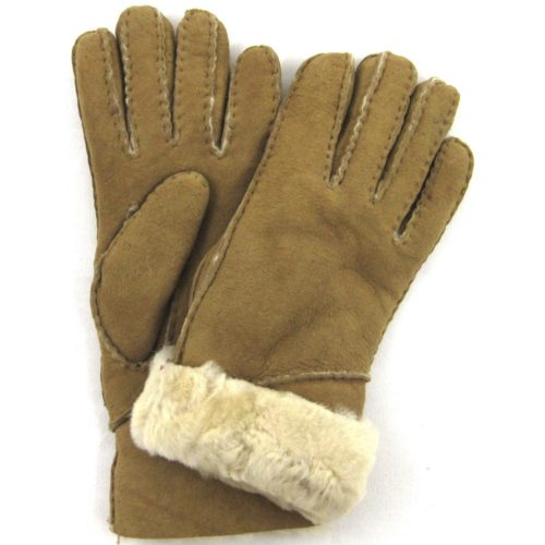 Vicky - Full Sheepskin Glove Long Fold Back Cuff - Spice