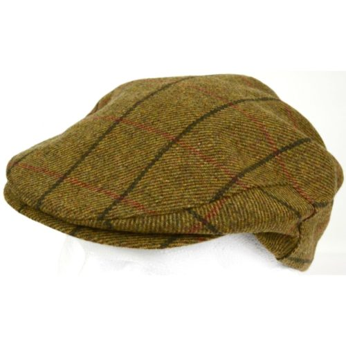 Tweed Shooting Flat / Peak Cap - Brown Check