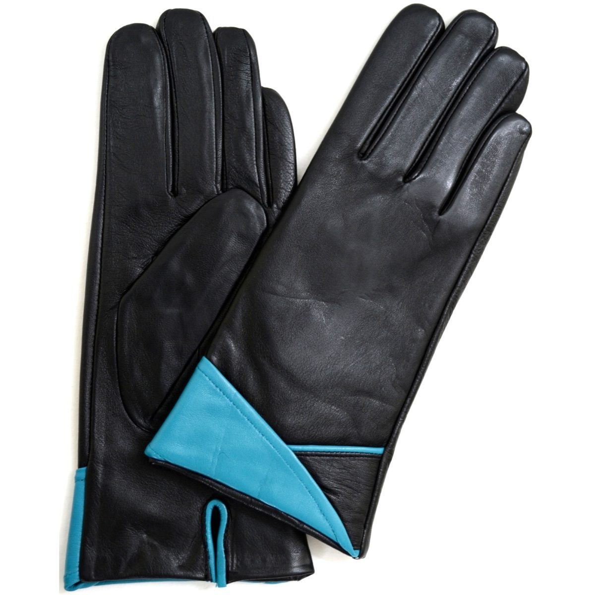 Alis - Leather Glove with Folded Cuff Design - Blue