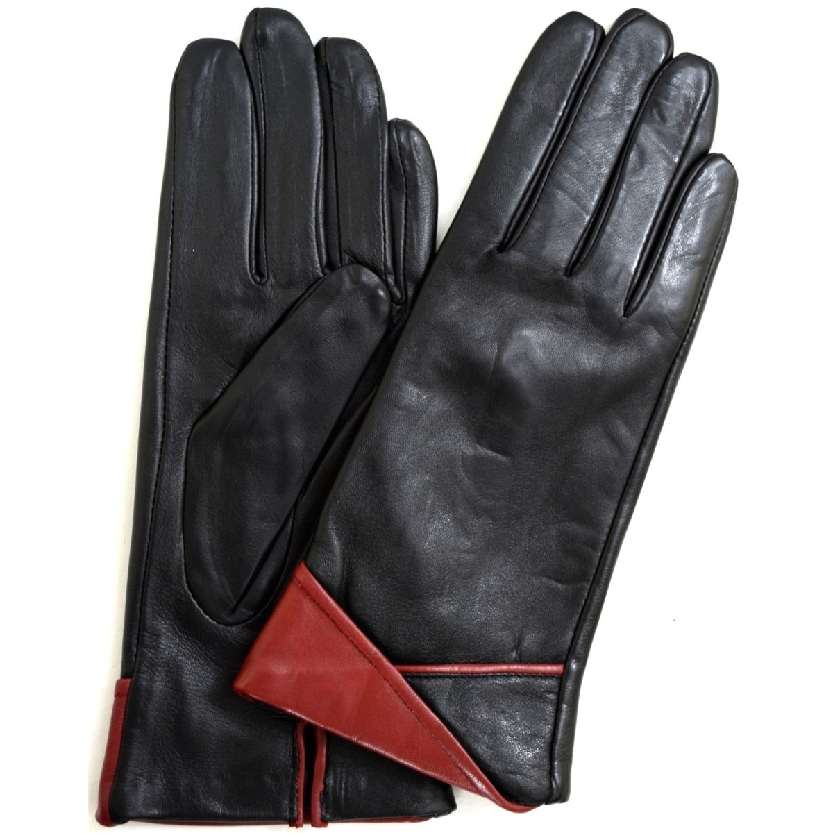Alis- Leather Glove with Folded Cuff Design - Red