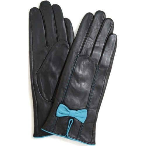 Beti - Leather Gloves with Delicate Bow Feature - Blue