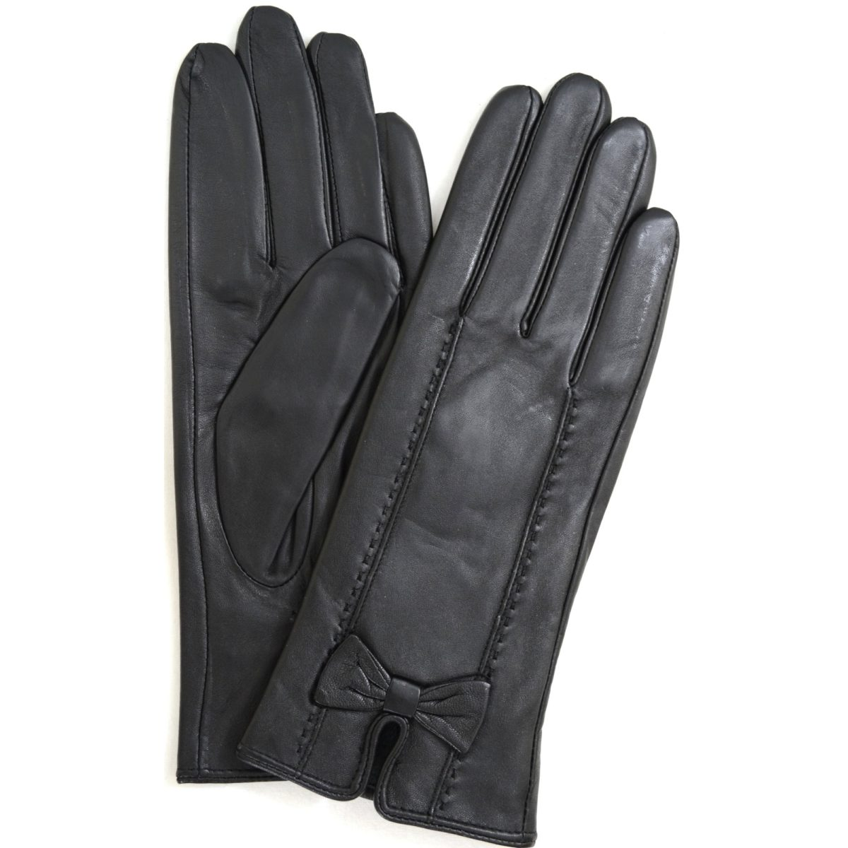 Alwen - Leather Gloves with Bow Design - Black
