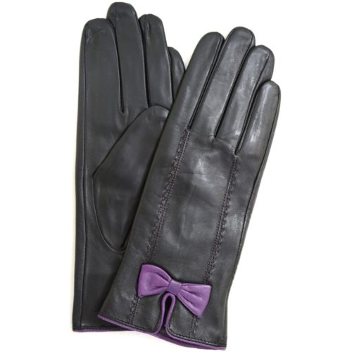 Beti - Leather Gloves with Delicate Bow Feature - Purple
