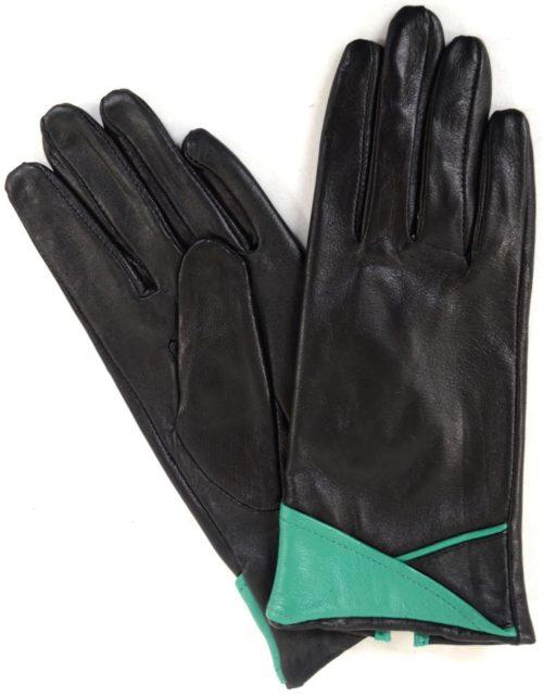 Emily - Leather Glove with Colour Cuff Design - Aqua