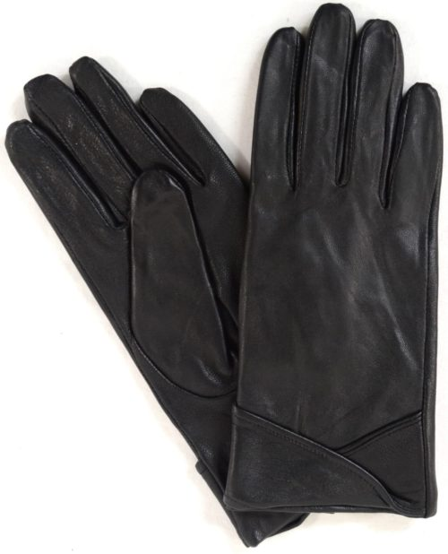Emily - Leather Glove with Colour Cuff Design - Black