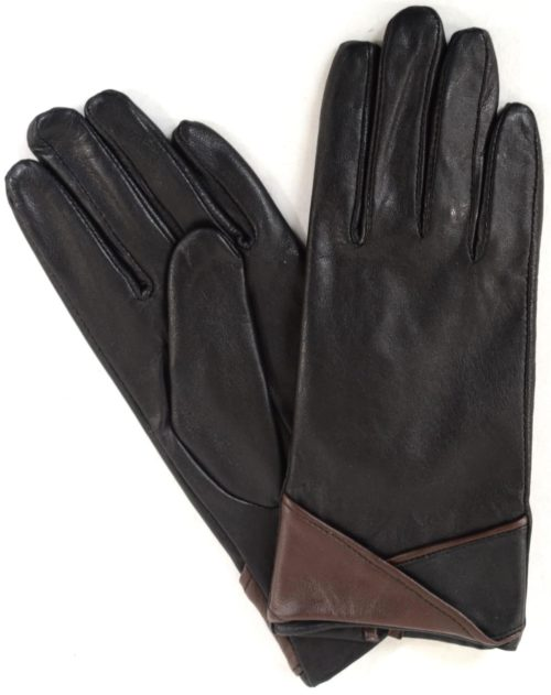 Emily - Leather Glove with Colour Cuff Design - Brown