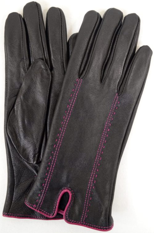 Caitlin - Leather Glove Attractive Stitch Design - Pink