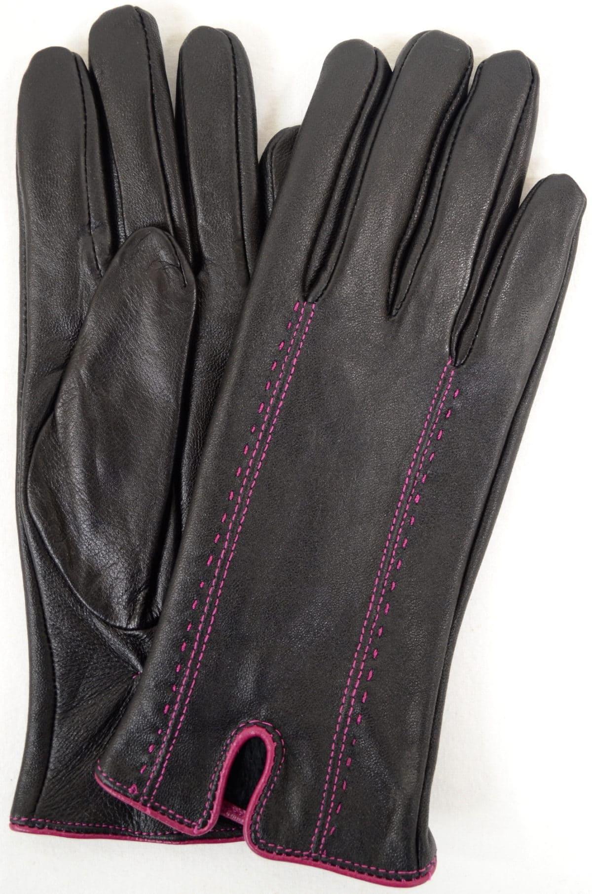 Caitlin - Leather Glove Attractive Stitch Design - Pink