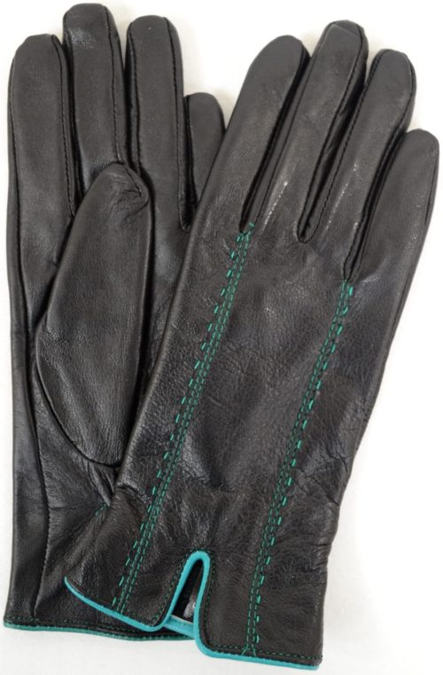 Caitlin - Leather Glove Attractive Stitch Design - Turquoise