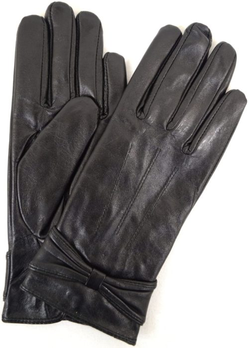 Elle - Leather Glove with Ruched Bow Design - Black
