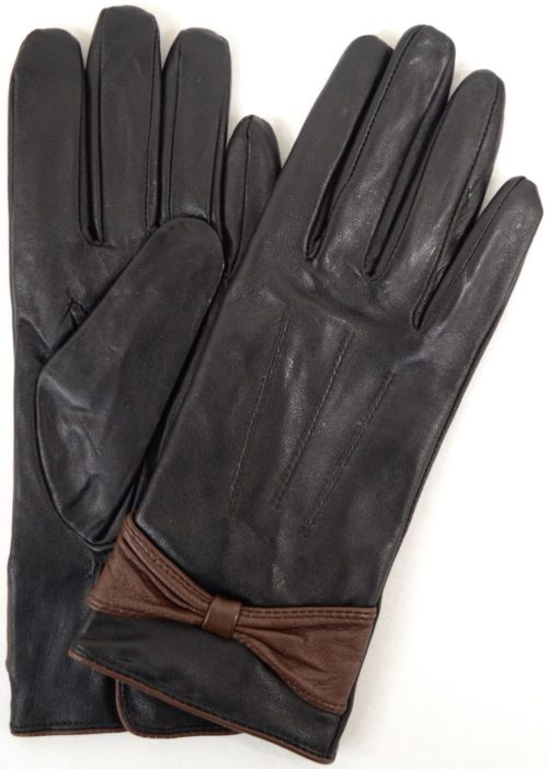 Elle - Leather Glove with Ruched Bow Design - Brown