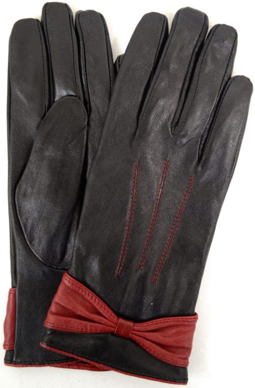 Elle - Leather Glove with Ruched Bow Design - Red