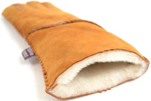 Vicky - Full Sheepskin Glove Long Fold Back Cuff - Tan