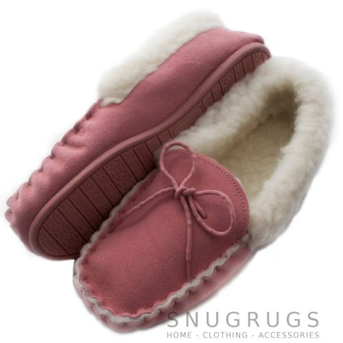 Wool Lined Suede Moccasins Wool Cuff Rubber Sole - Pink