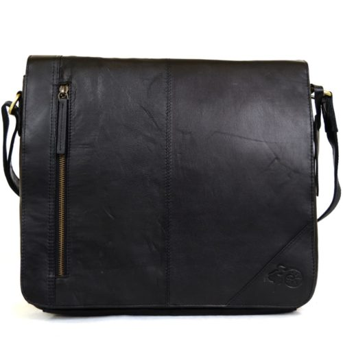 Large Leather Messenger Bag - Black