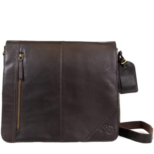 Large Leather Messenger Bag - Brown