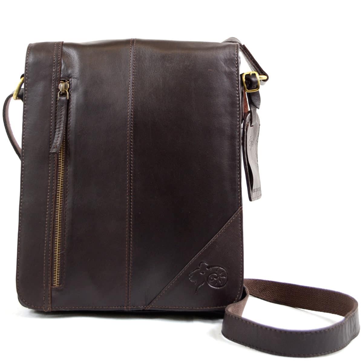 Leather Messenger Bag - Brown