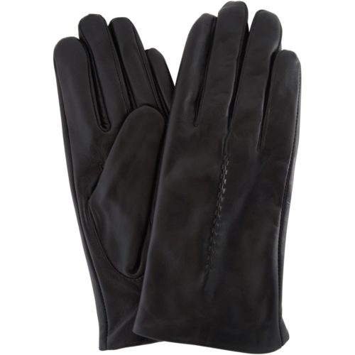 Catrin - Leather Gloves Twisted Central Stitch - Black