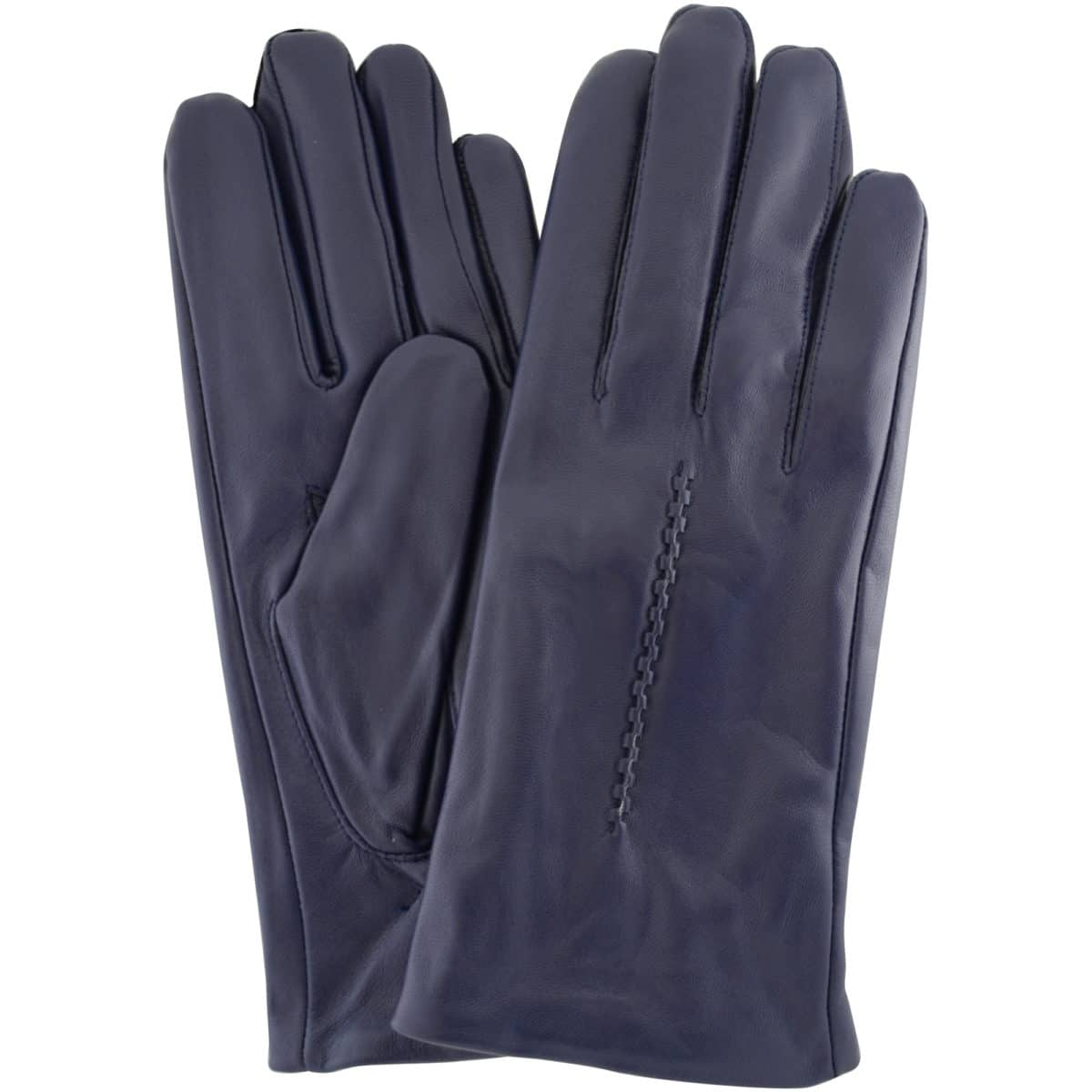 Catrin - Leather Gloves Twisted Central Stitch - Blue