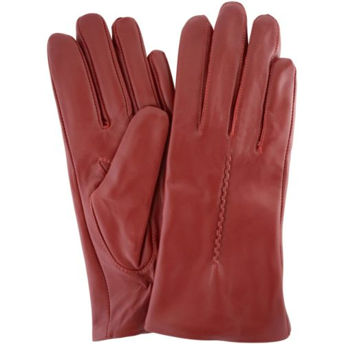 Catrin - Leather Gloves Twisted Central Stitch - Red