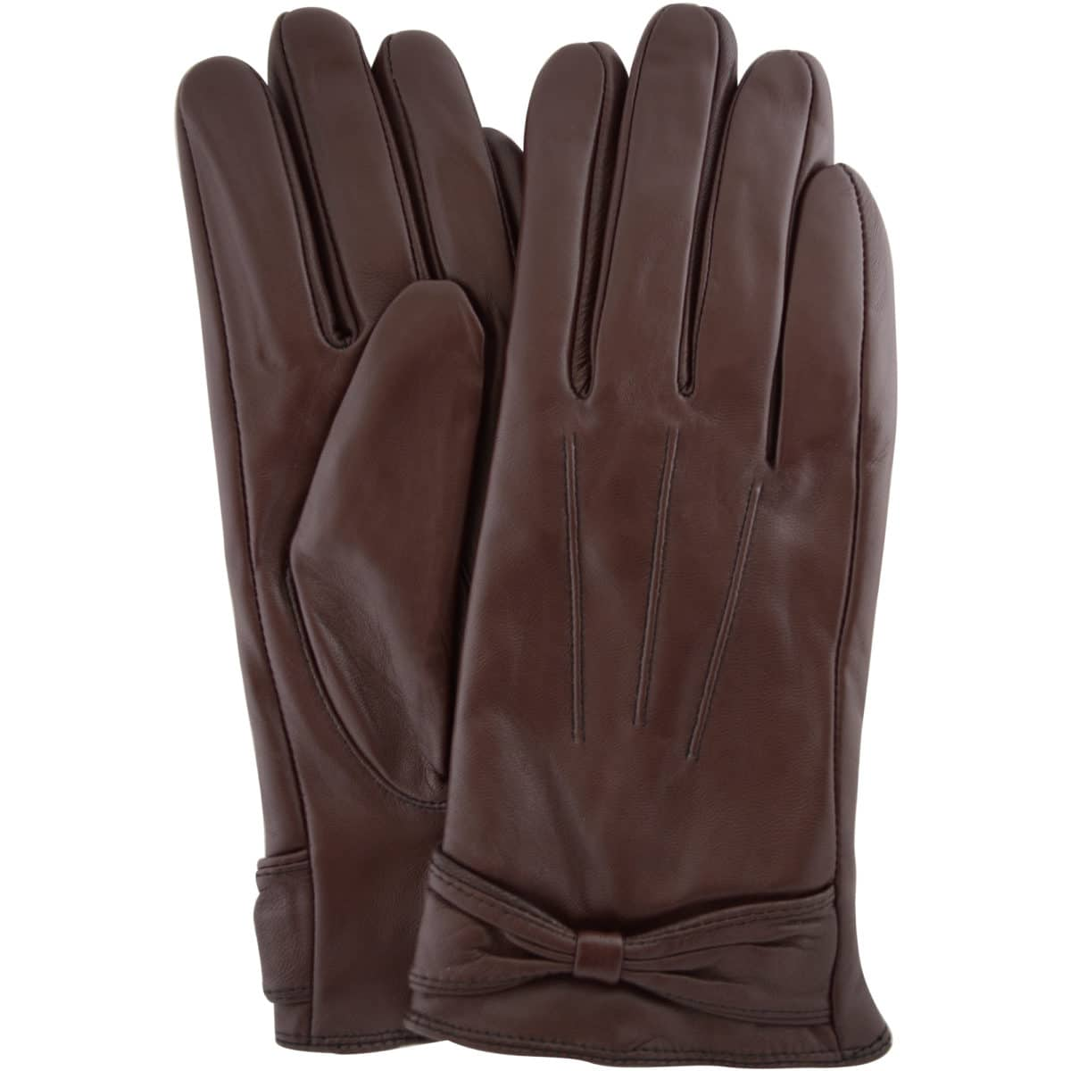 Alwen - Leather Gloves with Bow Design - Brown