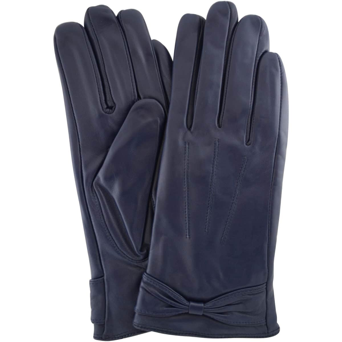 Alwen - Leather Gloves with Bow Design - Blue