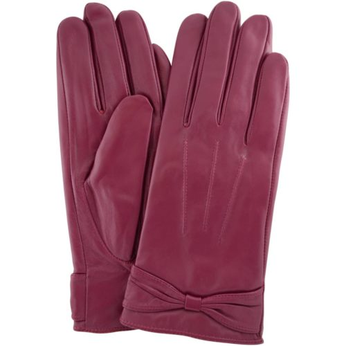 Alwen - Leather Gloves with Bow Design - Pink