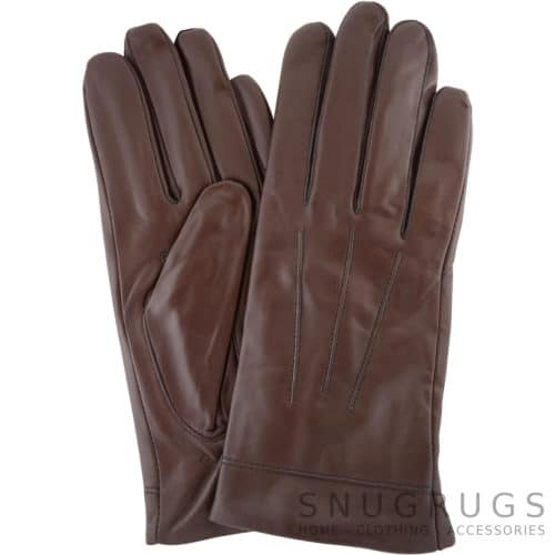 Mavis - Leather Gloves Three Point Stitch - Brown