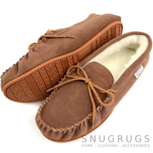 Wool Lined Suede Moccasin with Rubber Sole - Light Brown