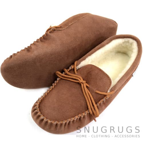 Wool Lined Suede Moccasin with Soft Sole - Light Brown