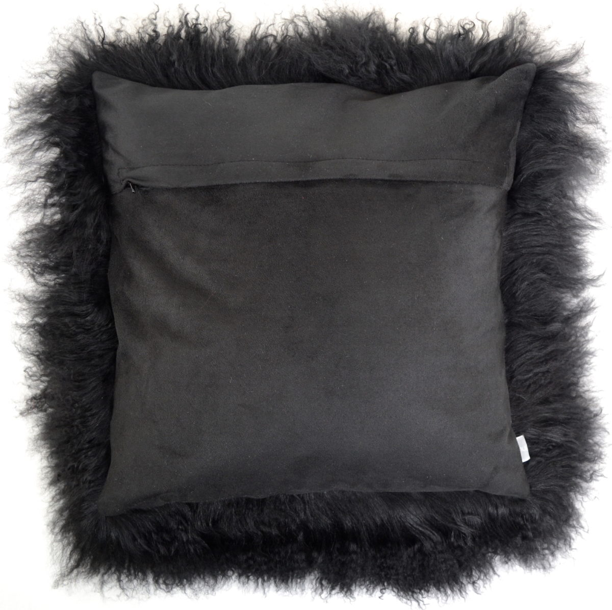 Mongolian Sheepskin Cushion 60cm X 60cm Black Snugrugs