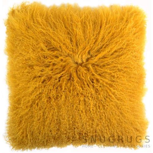 Snugrugs Mongolian Sheepskin Cushion 40cm x 40cm – Mustard