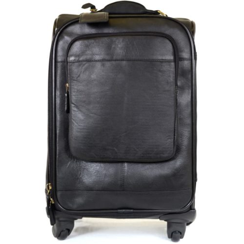 Leather Wheeled Trolley Case - Black