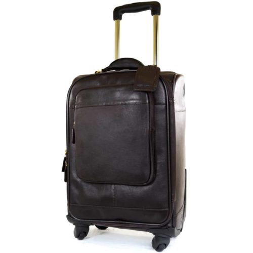 Leather Wheeled Trolley Case - Brown